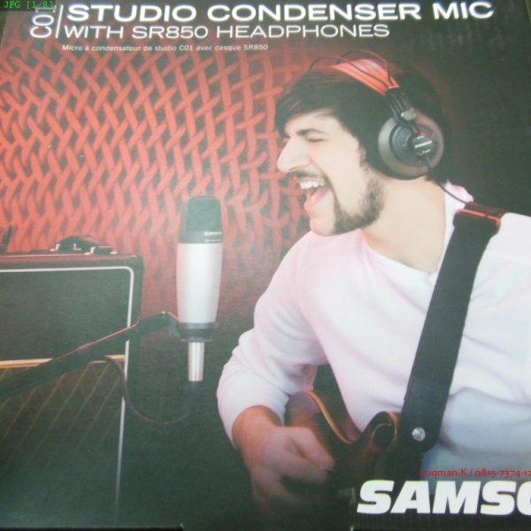 Mic Condenser Samson C01 with SR850 Headphone sangat baik untuk rekaman suara, instrumen akustik, dan dapat digunakan untuk bagian mic overhead pada drum.