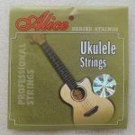 String Ukulele Alice AU02 terbuat dari material nylon berkualitas. Cocok untuk pemula maupun profesional. Paket terdiri dari 4 buah senar A, B, F#, dan D.